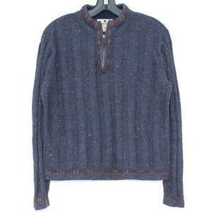 Woolrich Sweater 1/4 Zip Wool Blue Medium CD